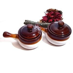 Ceramic Soup Bowl with Handles/ Lids Set